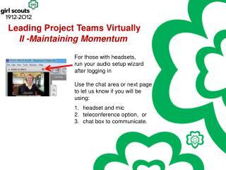 Leading Project Teams Virtually