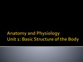 Anatomy and Physiology Unit 1: Basic Structure of the Body