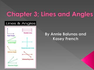 Chapter 3; Lines and Angles