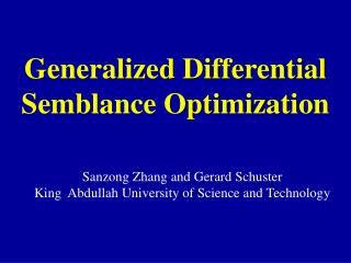 Generalized Differential Semblance Optimization