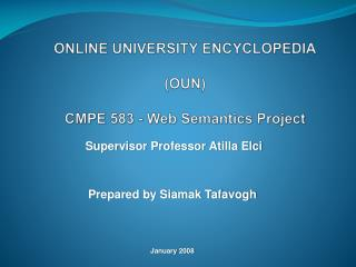 ONLINE  UNIVERSITY  ENCYCLOPEDIA (OUN) CMPE  583 - Web Semantics Project
