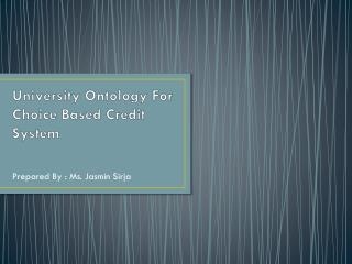 University Ontology For Choice Based Credit System