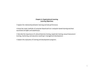 Chapter 6: Organizational Learning Learning  Objectives