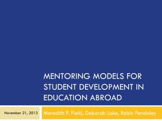 Mentoring Models for Student Development in Education Abroad