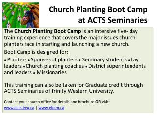 Church Planting Boot Camp at ACTS Seminaries