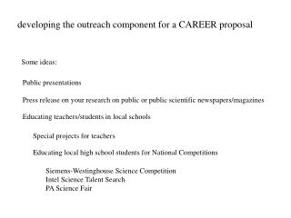 developing the outreach component for a CAREER proposal