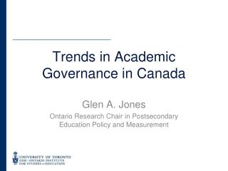 Trends in Academic Governance in Canada