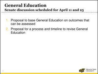General Education Senate discussion scheduled for April  11 and 25