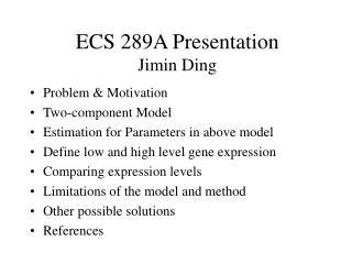 ECS 289A Presentation Jimin Ding