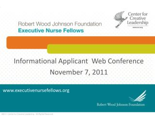 Informational Applicant   Web  Conference November  7, 2011