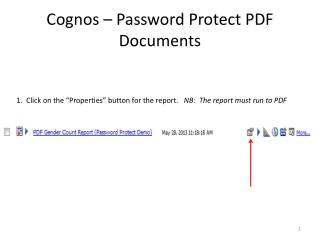 Cognos – Password Protect PDF Documents