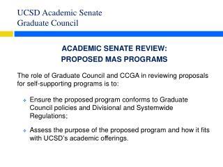 UCSD Academic Senate  Graduate Council