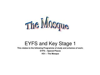 EYFS and Key Stage 1 This relates to the following Programme of study and schemes of work: