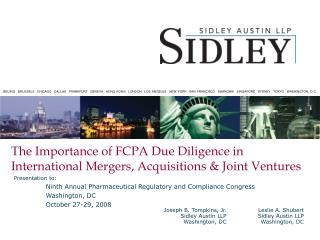 The Importance of FCPA Due Diligence in International Mergers, Acquisitions  Joint Ventures