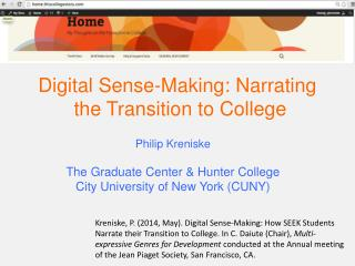 Digital Sense-Making: Narrating  the Transition to College