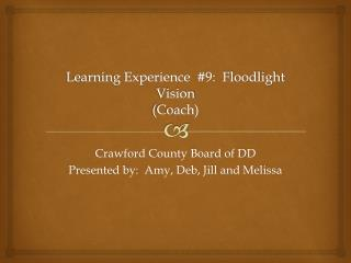 Learning Experience  #9:  Floodlight Vision (Coach)