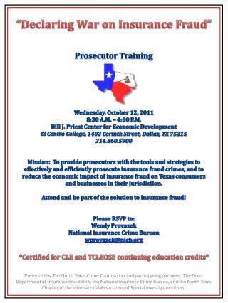 Prosecutor Training Wednesday, October 12, 2011 8:30 A.M. – 4:00 P.M.