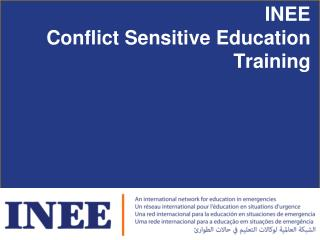 INEE  Conflict Sensitive Education  Training