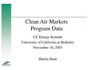 Clean Air Markets Program Data