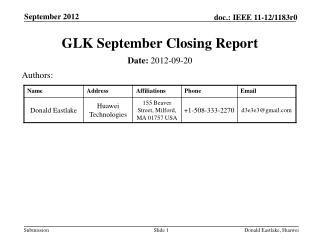 GLK September Closing Report