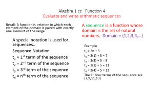Algebra 1 cc   Function 4 Evaluate and write arithmetic sequences
