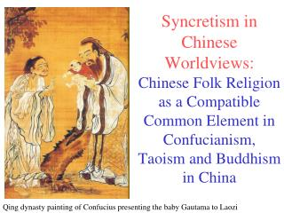 Qing dynasty painting of Confucius presenting the baby Gautama to Laozi
