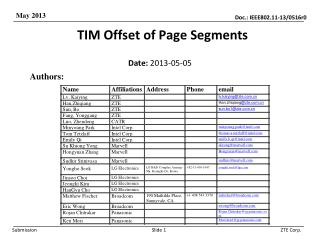 TIM Offset of Page Segments