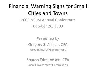 Financial Warning Signs for Small Cities and Towns
