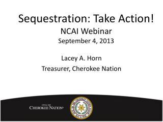 Sequestration: Take Action! NCAI Webinar  September 4, 2013