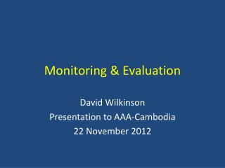 Monitoring & Evaluation