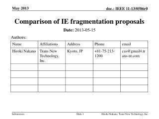 Comparison of IE fragmentation proposals