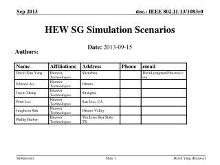 HEW SG  Simulation  Scenarios