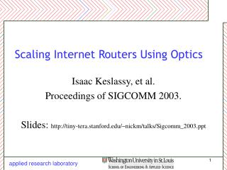 Scaling Internet Routers Using Optics