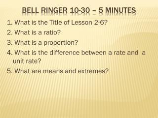 BELL Ringer  10-30  – 5 minutes