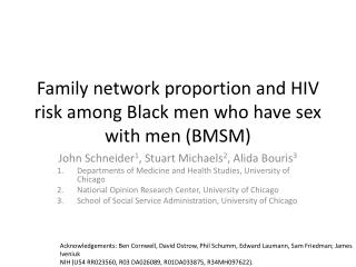 Family network proportion and HIV risk among Black men who have sex with men (BMSM)