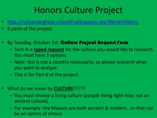 Honors Culture  Project