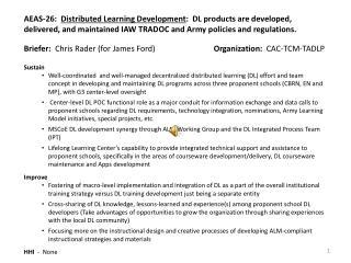Briefer:   Chris Rader (for James Ford) Organization:   CAC-TCM-TADLP