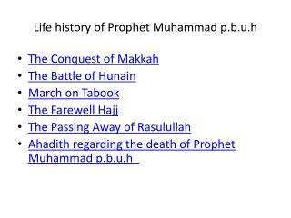 Life history of Prophet Muhammad p.b.u.h