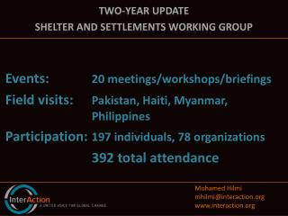 Two-year update Shelter and Settlements Working Group Events:  20 meetings/workshops/briefings