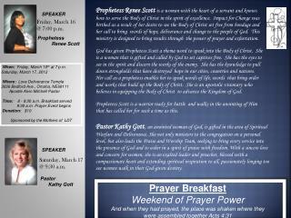 Prayer Breakfast  Weekend of Prayer Power