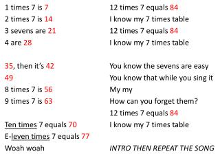 1 times 7 is  7 2 times 7 is  14 3 sevens are  21 4 are  28 35 , then it's  42 49 8 times 7 is  56