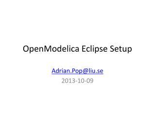 OpenModelica Eclipse Setup