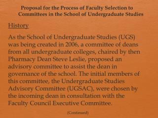 Proposal for the Process of Faculty Selection to Committees in the School of Undergraduate Studies