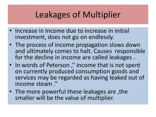 Leakages of Multiplier