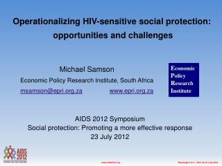 Michael Samson Economic Policy Research Institute, South Africa