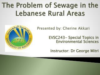 The Problem of Sewage in the Lebanese Rural Areas