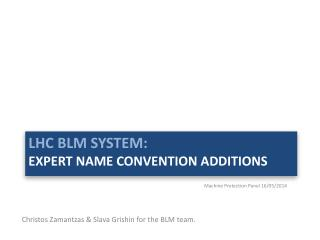 LHC BLM system: Expert name Convention Additions