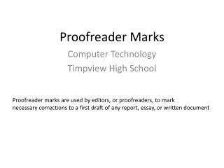 Proofreader Marks