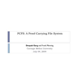 PCFS: A Proof-Carrying File System