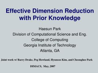 Effective Dimension Reduction with Prior Knowledge